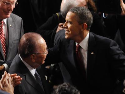 Barack Obama vor seiner Rede zur Lage der Nation im US-Kongress. Foto: Michael Reynolds