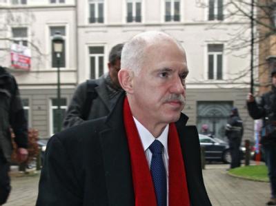 Der frühere griechische Ministerpräsident Giorgos Papandreou bei einem Treffen sozialdemokratischer Politiker in Brüssel. Foto: Olivier Polet