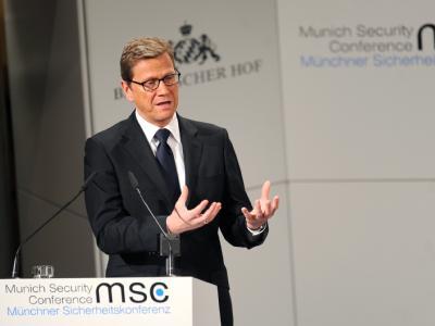 Außenminister Westerwelle spricht bei der 48. Sicherheitskonferenz in München. Foto: Tobias Hase