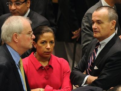 Enttäuschung und Empörung bei den Befürwortern der UN-Resolution zu Syrien: Mark Lyall Grant, (Großbritannien), Susan Rice (USA) und Gerard Araud (Frankreich). Foto: Andrew Gombert