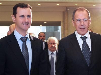 Der syrische Präsident Baschar al-Assad mit dem russischen Außenminister Sergei Lawrow in Damaskus. Foto: Epa/Sana