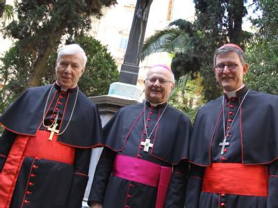 Der Vorsitzende der Deutschen Bischofskonferenz Robert Zollitsch (M) steht mit den neuen Kardinälen Rainer Maria Woelki (r) und Karl Josef Becker (l) bei einem Empfang. Foto: Karl-Josef Hildenbrand