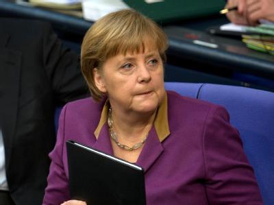 Bundeskanzlerin Merkel am Montag vor ihrer Regierungserklärung im Parlament. Foto: Tim Brakemeier
