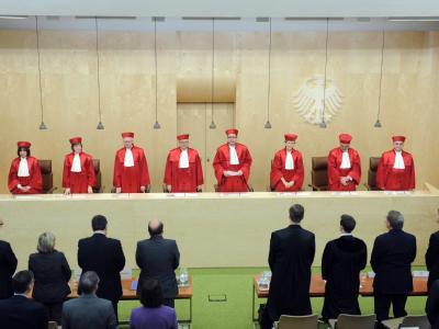 Der Zweite Senat des Bundesverfassungsgerichts in Karlsruhe. Foto: Uli Deck