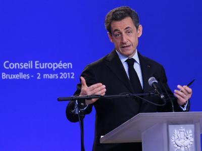Frankreichs Staatspräsident Nicolas Sarkozy ist optimistischer als Kanzlerin Merkel: «Wir sind dabei, die Krise hinter uns zu lassen.» Foto: Julien Warnand