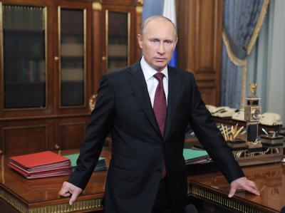 Wladimir Putin nach einer Fernsehansprache kurz vor der Wahl. Foto: Alexey Druginyn, Ria Novisti, Government Press Service