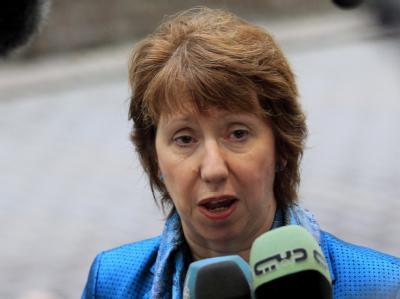 Die EU-Außenbeauftragte Catherine Ashton ist bereit, die Verhandlungen über Irans-Atomprogramm «so rasch wie möglich» wieder aufzunehmen. Foto: Olivier Hoslet/Archiv