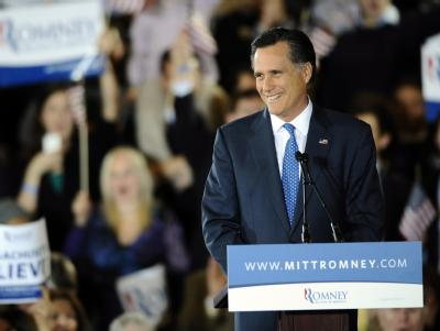 Mitt Romney am «Super Tuesday» in Boston. Foto: CJ Gunther