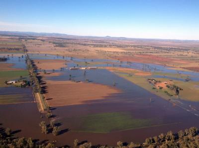 Luftbild der Überschwemmungen