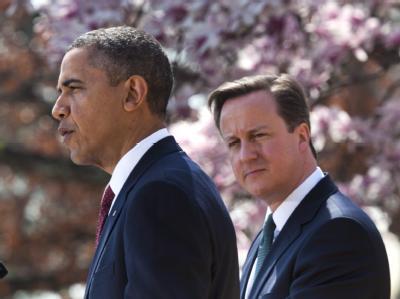 US-Präsident Barack Obama und der britische Premierminister David Cameron in Rosengarten des Weißen Hauses. Foto: Jim Lo Scalzo