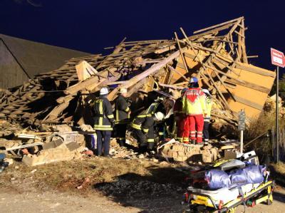 Bei einer Explosion ist in Mecklenburg-Vorpommern dieses Einfamilienhaus völlig zerstört worden. Foto: Susan Ebel