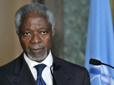 Der UN-Sondergesandte Kofi Annan im UN-Hauptquartier in Genf. Foto: Martial Trezzini