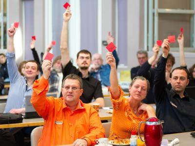 Delegierte beim Landesparteitag der Piratenpartei Saarland. Foto: Oliver Dietze