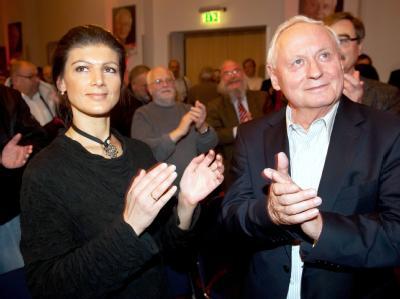 Keine künftige Linke-Doppelspitze: Sahra Wagenknecht und Oskar Lafontaine. Foto: Oliver Dietze/Archiv