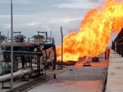Brand an einer ägyptischen Pipeline in Al Arisch: Ägypten hat die Gaslieferungen an Israel gestoppt. Foto: Str
