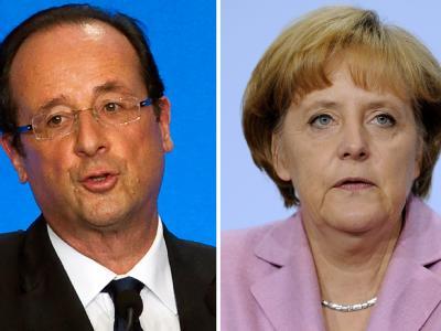 Wahlkampf-Geplänkel oder ernsthaftes Problem? Merkel lehnt den Ruf Hollandes nach Änderungen am Fiskalpakt ab. Fotos: Rainer Jensen/Ian Langsdon/Archiv