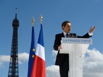 Frankreichs Präsident Sarkozy auf einer Wahlkampfveranstaltung zum 1. Mai in Paris. Foto: Philippe Wojazer