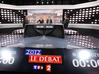 Die Pläne der Wahlkämpfer zum Abbau des französischen Budgetdefizits standen im Zentrum der von Millionen Franzosen verfolgten Debatte. Foto: Patrick Kovarick/POOL MAXPPP OUT