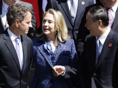 Zu zweitägigen Gesprächen kamen US-Außenministerin Clinton und Finanzminister Geithner mit Chinas Vizepremier Wang Qishan zusammen. Foto: Jason Lee