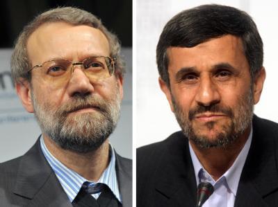 Ali Laridschani (l) ist derzeit der größte Widersacher von Präsident Ahmadinedschad (r). Fotos: Andreas Gebert/Kay Nietfeld