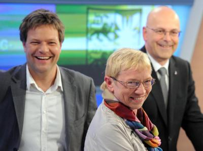 Die schleswig-holsteinischen Spitzenkandidaten von Robert Habeck (Bündnis 90/Die Grünen), Anke Spoorendonk (SSW) und Torsten Albig (SPD). Foto: Carsten Rehder