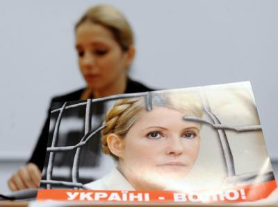 Timoschenko-Tochter Jewgenija wirbt um Unterstützung für ihre inhaftierte Mutter und ukrainische Ex-Regierungschefin Julia Timoschenko. Foto: Filip Singer