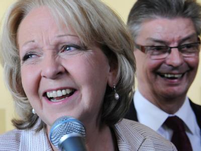 Die SPD-Spitzenkandidatin Hannelore Kraft und Fraktionschef Norbert Römer im Landtag in Düsseldorf. Foto: Maurizio Gambarini