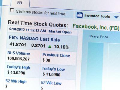 Eine der ersten Kursnotierungen der Aktie von Facebook. Foto:Matthias Balk  +++(c) dpa - Bildfunk+++