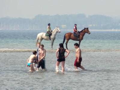 Badespaß auf einer Sandbank in der Ostsee bei Laboe. Foto: Daniel Friederichs