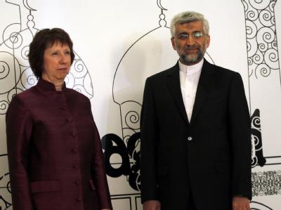 Die EU-Außenbeauftragte Catherine Ashton hofft auf ein Entgegenkommen des iranischen Atom-Chefunterhändlers Said Dschalili. Foto: Ali Abbas