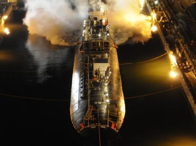Die «USS Miami» am 15. März bei der Einfahrt ins Trockendock auf einer Werft im US-Bundesstaat Maine in Portsmouth. Foto: US-Navy/Jim Cleveland