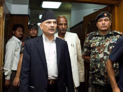 Nepals Premierminister Baburam Bhattrai (m) in Kathmandu. Foto: Narendra Shrestha