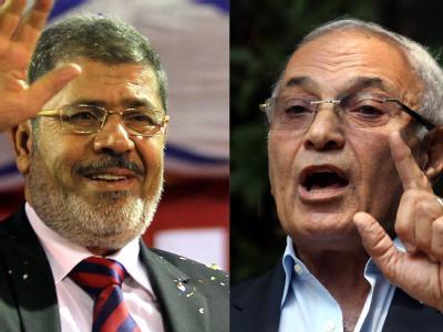 Mohammed Mursi (l) und Ahmed Schafik sind bei der Präsidentenwahl in Ägypten noch im Rennen. Foto: Khaled Elfiqi