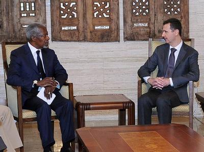 Gesprächsversuch: UN-Sonderbotschafter Kofi Annan beim syrischen Machthaber Assad. Foto: SANA