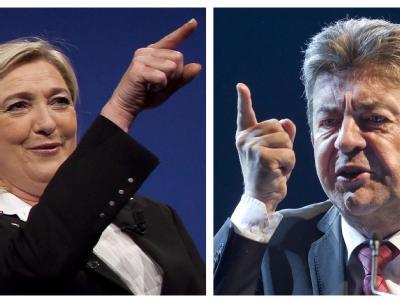 Spannendes Duell im nordfranzösischen Bergbau-Stadt Henin-Beaumont: Dort trat der Chef der Linksfront, Jean-Luc Mélenchon (r), gegen die rechtsextreme Ultranationalistin Marine Le Pen (l) an. Foto: Ian Laggsdon