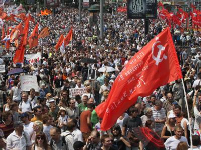 Tausende demonstrieren gegen Präsident Putin. Foto: Sergei Ilnitzky