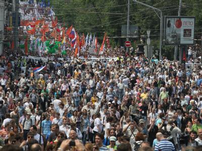 Die Behörden hatten den Protestmarsch genehmigt. Foto: Sergei Ilnitzky