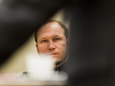 Der Angeklagte Breivik während eines Gerichtstermins in Oslo. Foto: Vegard Groett
