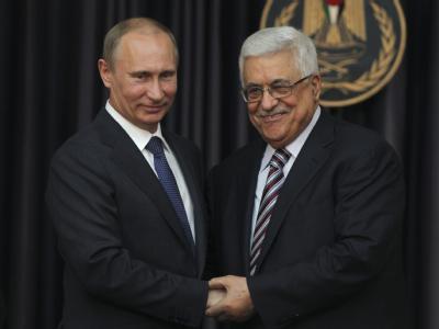 Russlands Präsident Putin trifft Palästinenserpräsident Mahmud Abbas in Bethlehem. Foto: Atef Safadi