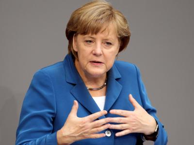 Bundeskanzlerin Angela Merkel spricht im Bundestag in Berlin. Foto: Wolfgang Kumm