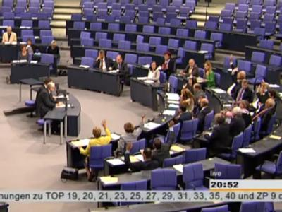 Der Screenshot zeigt die Abstimmung zur Fortentwicklung des Meldewesens im Bundestag. Foto: Deutscher Bundestag