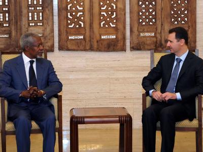 Erneutes Treffen in Damaskus: Der UN-Sondergesandte Kofi Annan und Syriens Präsident Assad. Foto: Sana
