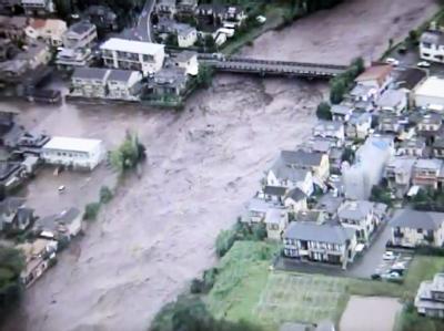 Ein Videobild zeigt den überfluteten Shirakawa Fluss in Kumamoto. Foto: EPA/KPPD
