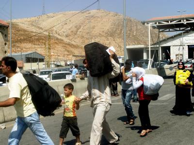 Syrische Flüchtlinge an der libanesischen Grenze. Foto: Lucie Parseghian