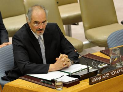 Bashar Ja'afari, UN-Botschafter Syriens, während der Sitzung des UN-Sicherheitsrates. Foto: Justin Lane