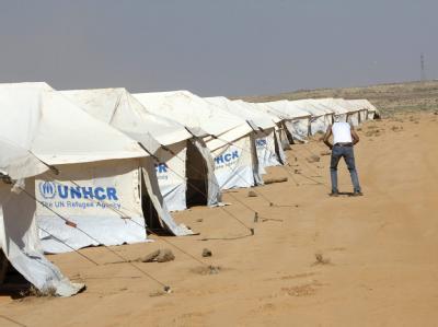UNHCR-Camp nordöstlich von Jordaniens Hauptstadt Amman wird für Flüchtlinge aus Syrien bereit gestellt. Foto: Jamal Nasrallah