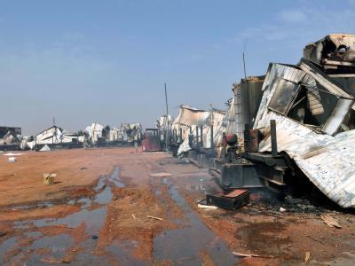 Verwüstungen nach Kämpfen zwischen dem Sudan und Südsudan in der ölreichen Stadt Heglig. Jetzt gab es eine Einigung über das brisante Öl-Thema. Foto: Stringer/ Archiv