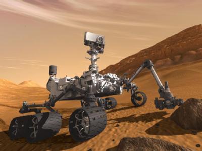 Eine künstlerische Darstellung zeigt die Landung des Marsrover «Curiosity» auf dem Mars. Foto: NASA/JPL-Caltech