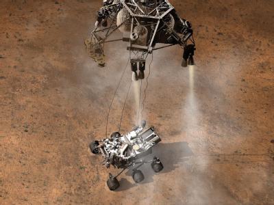 Diese Animation veranschaulicht den Moment kurz nach der ersten Berührung des Mars-Rovers