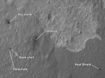 Auf dem von der Nasa veröffentlichten Bild sind «Curiosity» und die Bestandteile seines komplizierten Landemanövers zu sehen: Der Hitzeschutz liegt etwa einen Kilometer, die Kapsel, der Kran und der Fallschirm rund 600 Meter vom Rover entfernt. Foto: Nasa
